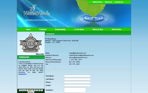 Screenshot of Contact Page pfwaterworks.net - Contact Us - captured Sept. 17, 2014