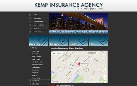 Screenshot of Locations Page kemp-agency.com - Kemp Insurance Agency Locations and Driving Directions - captured Feb. 12, 2016