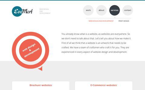 Screenshot of Services Page evomorf.com - Web design and development | EvoMorf - captured Nov. 5, 2018