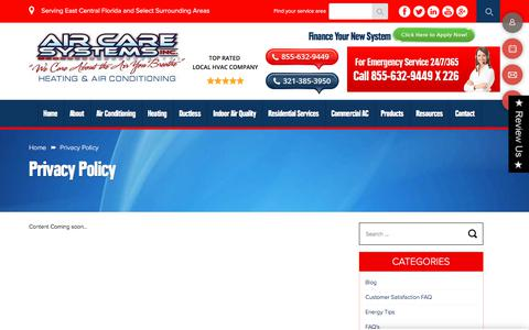 Screenshot of Privacy Page aircaresystemsinc.com - Privacy Policy | Air Care Systems Inc. - captured Oct. 7, 2017