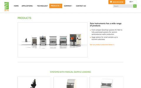 Screenshot of Products Page zeta-inst.com - Product Catalog | Zeta Instruments - captured Feb. 26, 2016