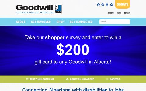 Screenshot of Home Page goodwill.ab.ca - Connecting Albertans with disabilities to jobs | Goodwill Alberta - captured Sept. 18, 2015