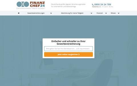 Screenshot of Home Page finanzchef24.de - Finanzchef24 | Unternehmer? Aber sicher! - captured July 13, 2018