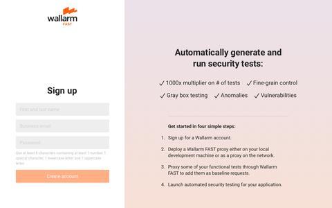 Screenshot of Signup Page wallarm.com - Wallarm - captured Sept. 24, 2019