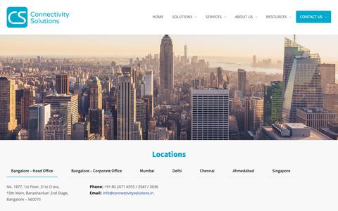 Screenshot of Locations Page connectivitysolutions.in - Locations – Connectivity Solutions - captured Sept. 29, 2018