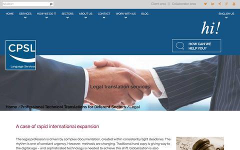 Screenshot of Terms Page cpsl.com - Legal translation services | CPSL - captured July 14, 2018