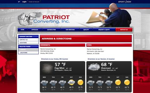 Screenshot of Locations Page patriotconverting.com - Address & Directions - captured Oct. 2, 2014