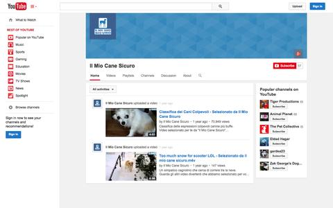 Screenshot of YouTube Page youtube.com - Il Mio Cane Sicuro  - YouTube - captured Oct. 23, 2014