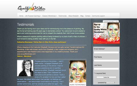Screenshot of Testimonials Page qualitywithin.com - Testimonials | Quality Within - captured Sept. 30, 2014