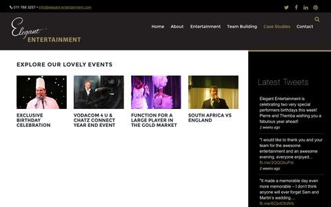 Screenshot of Case Studies Page elegant-entertainment.com - Case Studies - captured July 20, 2015