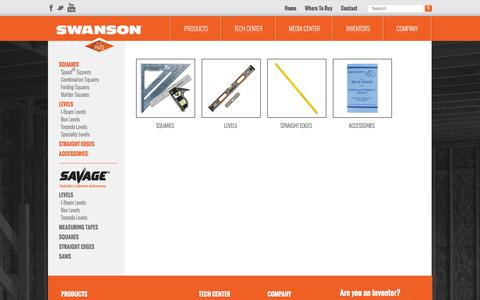 Screenshot of Products Page swansontoolco.com - Products - Swanson Tool Company - captured Feb. 16, 2016