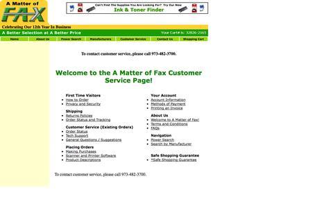 Screenshot of Support Page amatteroffax.com captured Sept. 19, 2014