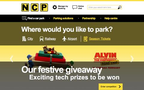 Screenshot of Home Page ncp.co.uk - National Car Parks - Find Car Parking for Cities, Airports & Events - captured Nov. 22, 2015