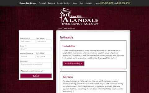 Screenshot of Testimonials Page alandale.com - Testimonials | Alandale Insurance Agency - captured Oct. 4, 2014