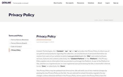 Privacy Policy - Catalant