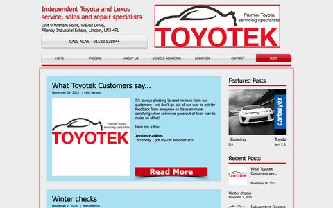 Screenshot of Blog toyotek.co.uk - Toyotek Blog - captured Nov. 8, 2017