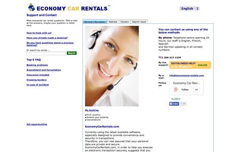Contact and support Economy Car Rentals.