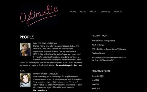 Screenshot of Team Page optimisticproductions.co.uk - People - Optimistic ProductionsOptimistic Productions - captured Feb. 26, 2016