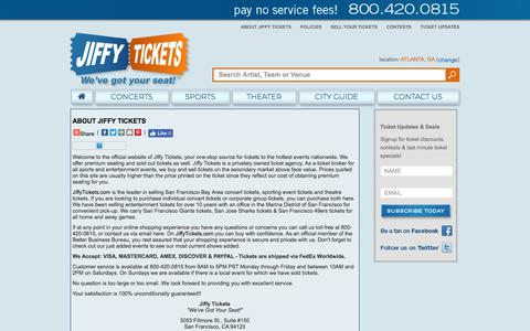 Screenshot of About Page jiffytickets.com - Theater Tickets, Sports Tickets & Concert Tickets, San Francisco CA | Discount Concert & Theater Tickets, NFL Tickets from Jiffy Tickets - captured Sept. 20, 2018