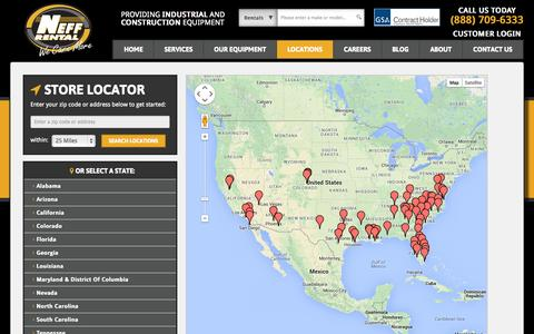 Screenshot of Locations Page neffrental.com - Construction Equipment Rental Locations | Neff Rental - captured Oct. 26, 2014