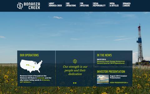 Screenshot of Home Page bonanzacrk.com - Bonanza Creek Energy - captured Oct. 5, 2014