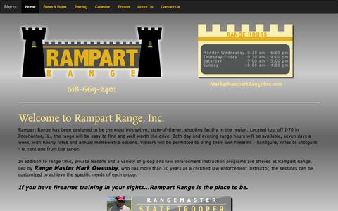 Screenshot of Home Page rampartrangeinc.com - Shooting Range | Pocahontas, Illinios | Rampart Range, Inc. - captured Aug. 16, 2015