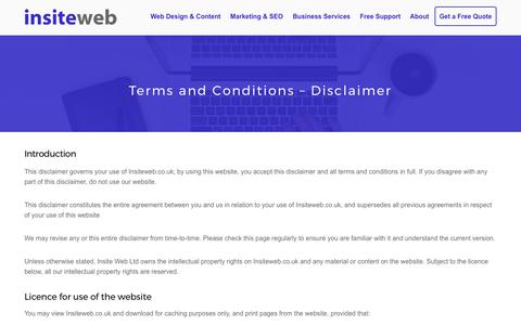 Screenshot of Terms Page insiteweb.co.uk - Terms and Conditions for InsiteWeb.co.uk - Insite Web - captured Oct. 15, 2017