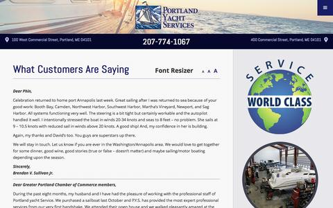 Screenshot of Testimonials Page portlandyacht.com - What Customers Are Saying | Customer Testimonials - captured Nov. 8, 2016