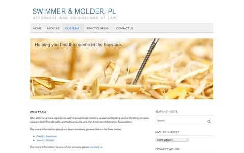 Screenshot of Team Page swimmermolder.com - OUR TEAM | Swimmer & Molder, PL - captured Oct. 26, 2014