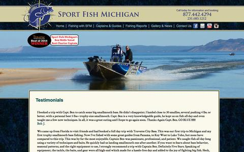 Screenshot of Testimonials Page sportfishmichigan.com - Reviews and Testimonials from Sport Fish Michigan - captured Nov. 5, 2017