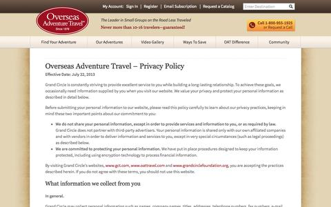 Screenshot of Privacy Page oattravel.com - Privacy Policy | Overseas Adventure Travel - captured Oct. 31, 2014