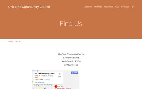 Screenshot of Maps & Directions Page oaktreechurch.com - Find Us – Oak Tree Community Church - captured Oct. 18, 2018