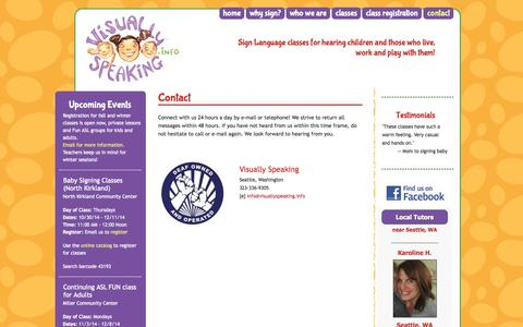 Screenshot of Contact Page visuallyspeaking.info - Contact –  Visually Speaking - captured Oct. 25, 2014