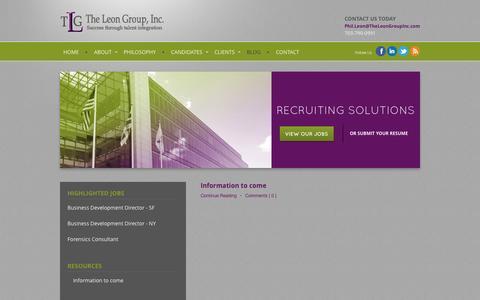 Screenshot of Blog theleongroupinc.com - Blog   The Leon Group, Inc. - captured Sept. 30, 2014