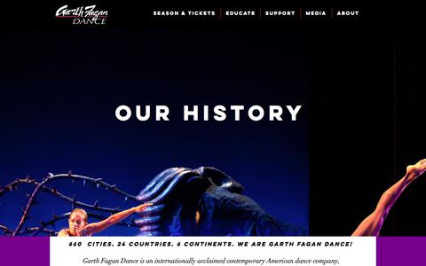Screenshot of About Page garthfagandance.org - Garth Fagan Dance | Our History - captured July 16, 2018