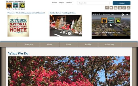 Screenshot of About Page fortchamber.com - What We Do  - Fort Atkinson Area Chamber of Commerce, WI - captured Oct. 10, 2018
