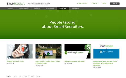 Screenshot of Press Page smartrecruiters.com - SmartRecruiters News   SmartRecruiters - captured Nov. 27, 2015