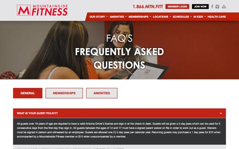 Screenshot of FAQ Page mountainsidefitness.com - FAQ's   Mountainside Fitness - captured July 2, 2018