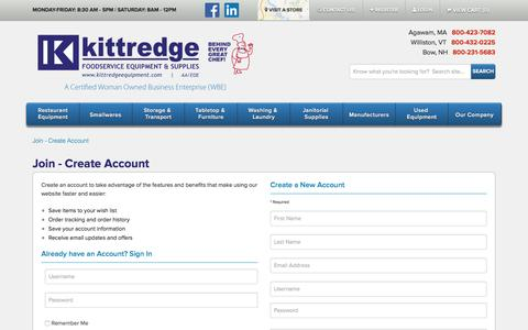 Screenshot of Signup Page kittredgeequipment.com - Join - Create Account - captured Feb. 12, 2016