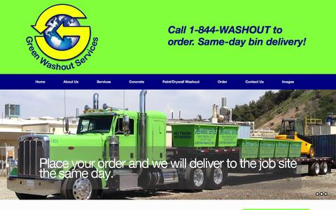 Screenshot of Home Page greenwashoutservices.com - Green Washout Services - Concrete Washout, Paint Washout Drywall Washout - captured Dec. 14, 2015