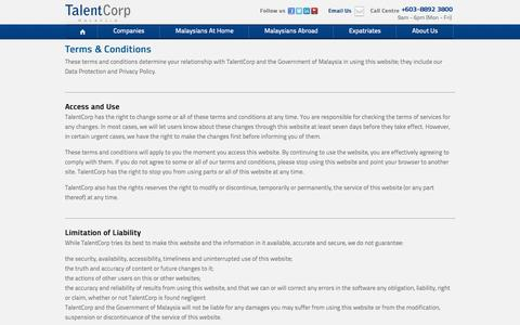 Screenshot of Terms Page talentcorp.com.my - Terms & Conditions | TalentCorp Malaysia - captured Sept. 23, 2014