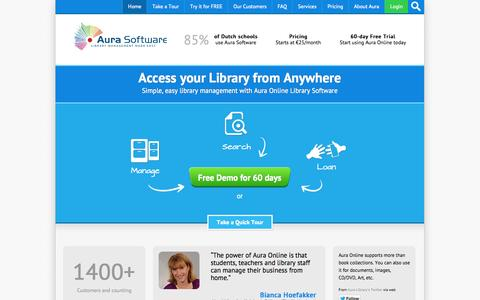 Screenshot of Home Page auralibrary.com - Aura Library Management System | Library Software | Manage your library, 24 x 7, from anywhere! - captured Oct. 4, 2014