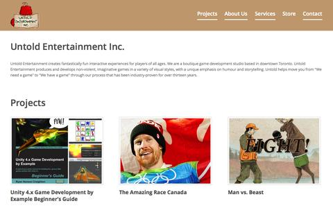 Screenshot of Home Page About Page Services Page untoldentertainment.com - Untold Entertainment Inc.: Fantastically fun interactive experiences for players of all ages - captured Oct. 7, 2014