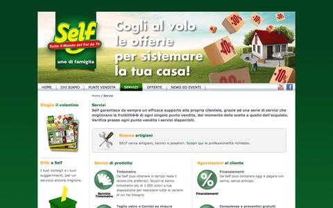 Screenshot of Services Page selfitalia.it - Servizi | Self - Tutto il mondo del fai da te - captured Sept. 23, 2014