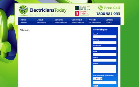 Screenshot of Site Map Page electricianstoday.com.au - Electricians Melbourne - Sitemap | Electricians Today - captured Sept. 29, 2014