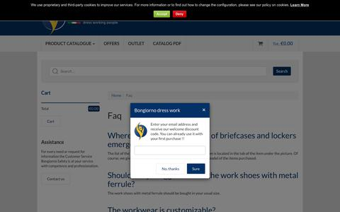 Screenshot of FAQ Page bongiornoantinfortunistica.com - online shop high visibility clothing: suit, shirts, pants - captured Oct. 9, 2017
