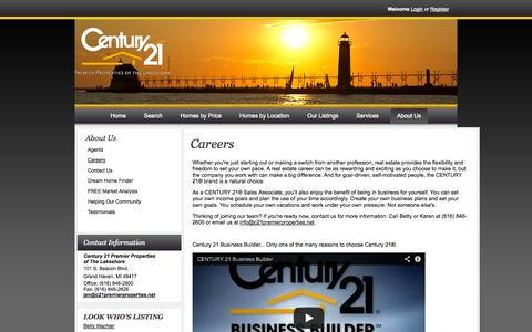 Screenshot of Jobs Page c21premierproperties.net - CENTURY 21 Careers - captured Oct. 2, 2014