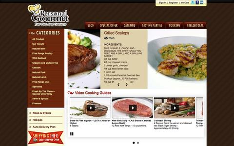 Screenshot of Home Page personalgourmetfoods.com - Personal Gourmet Foods - captured Oct. 2, 2014