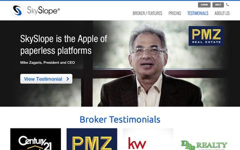 Screenshot of Testimonials Page skyslope.com - Testimonials | SkySlope - captured May 1, 2016