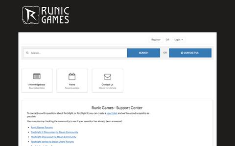 Screenshot of Support Page runicgames.com - Runic Games - Support Center - captured April 29, 2017